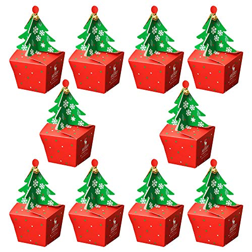 Qoosea Christmas Box Cute Cartoon Box 1 Satz / 10PCS Supplies Mode Bell Design Candy Paper Favors Geschenke Schokolade Cookie Verpackung Box Carrier Taschen Boxen (Xmas Tree Bell)
