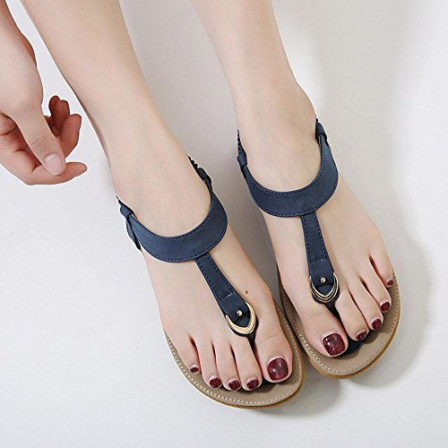 Transer® Damen Flach Sandalen Kunstleder+Gummi Outdoor Rosa Blau Beige Einfach T-Gurt Wohnungen Schuhe Gr.35-42 Blau