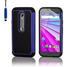 32nd® Funda Rígida Anti-Choques de Alta Proteccion para Motorola Moto G 3 (3. Generacion, 2015) Carcasa Defensora de Doble Capa - Azul