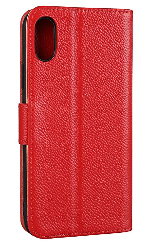 Hülle iPhone 8,VENTER®Handyhülle iPhone 8 Tasche [Schwarz] Leder Flip Case Brieftasche Etui Schutzhülle für iPhone 8 rot