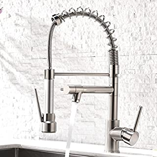 Aimadi Contemporary Kitchen Sink Faucet - Single Handle Pull Down Sprayer Mixer Tap, Brushed Nickel