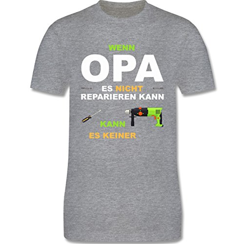 Opa - Wenn Opa es nicht reparieren kann kann es keiner - Herren Premium T-Shirt Grau Meliert
