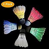 5 Stück LED Federball Badminton, 5 Farbe Stück Gänsefeder Badminton Federbälle Dunkle Nacht Gänsefeder Glow Birdies Beleuchtung für Outdoor und Indoor Sport Aktivitäten