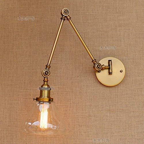 Vintage Industrie 1-Light Wandleuchte mit rundem Klarglas Shade Adjustable Swing Arm Retro Bronze Antike Nachtwandlampen-Dekor-Leuchter Metall gebürstet Chrom-Finish yppss -