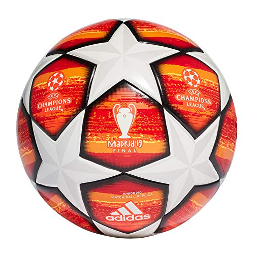 adidas Herren Finale J290 Ball, Top:White/Active Scarlet Red Bottom:Bright Orange/Solar Gold/Schwarz, 5