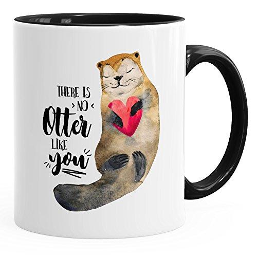MoonWorks Kaffee-Tasse There is No Otter Like You Liebe Spruch Geschenk-Tasse Love Quote Lustig Verliebt Freund Freundin Schwarz Unisize