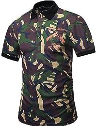 Yonbii Hommes manches courtes Golf Polo T-shirts Hauts Casual Imprimer avant Camouflage 3D