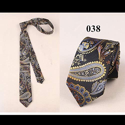 DYDONGWL Krawatten Herren,Holz Fliege,Klassische 6cm dünne Krawatte für reife Männer Business Slim Tie Tie für Man Fashion Silk Polyester Bridegroom Tie