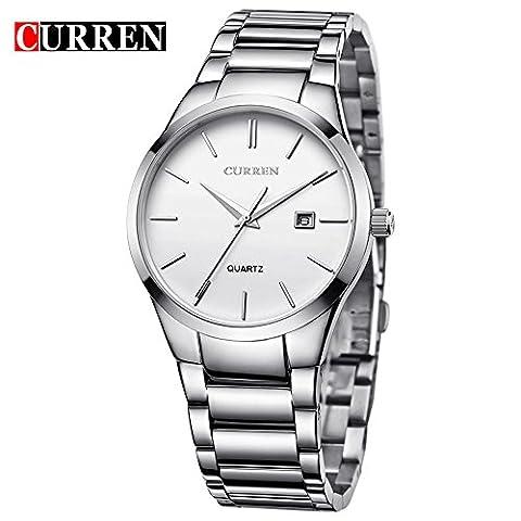 CURREN Men's Fashion Sports Quartz Analog White Stainless Steel Strap Wrist Watches 8106G