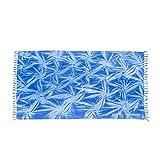 ManuMar Damen Sarong   Pareo Strandtuch   Leichtes Wickeltuch mit Fransen-Quasten (L: 115 x 225 cm, Blau Hellblau)