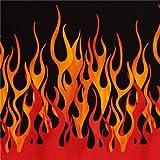 Schwarzer orange rote Flammen Feuer Michael Miller Stoff