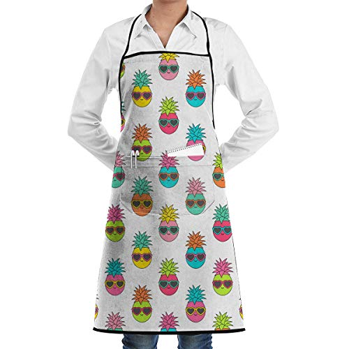 Aprons for Sale Colorful Pineapple with Sunglasses Pattern Menâ€s Womenâ€s Unisex Coffee Shop Kitchen Long Aprons Sleeveless Overalls Portable with Pocket for Cooking,Baking,Crafting,Gardening,BBQ -