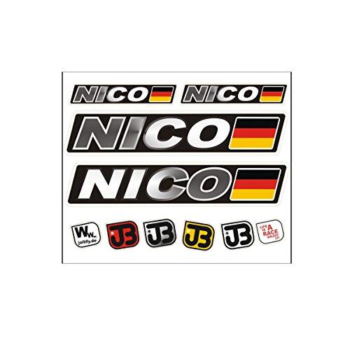 Nico Adesivo per auto, bici, moto o casco, con nome del guidatore e bandiera