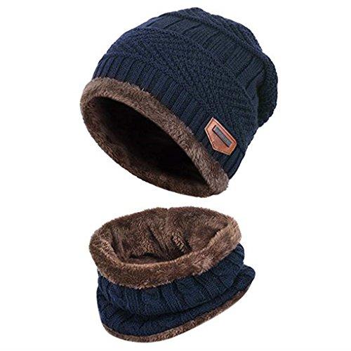 Acexy Wintermütze Warme Strickmütze und Kreis Schal Set im Freien Schal Beanie Skull Cap für den Winter