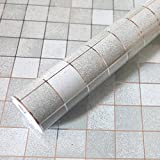 Bluelover 45X500Cm Cocina Pared Impermeable De Mosaico Pegatina De Aluminio Auta-Adhesivo Anti Aceite Papel Pintado Gris