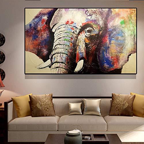 FKSRET Elefantes de África Negra Animales Salvajes Pintura de Lienzo Escandinavia Carteles...