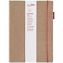 transotype senseBook RED RUBBER Design Notizbuch, large - ca. A4, kariert, weitere Varianten auswählbar, mit rotem Gummiband, edles Rinderleder