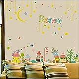 HAJKSDS Mond Traum PVC Haus Wandaufkleber Für Baby Zimmer Bett Umweltfreundliche Vinyl Kunst Wandtattoos Wohnkultur (80X145 cm)