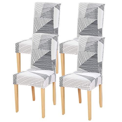 Fuloon coprisedie con schienale, fodere per sedie lavabili removibili per hotel sala da pranzo cerimonia banchetto wedding party decor(moka, 4 pezzi)