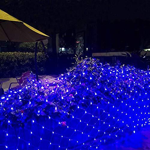 ZLBZBB Mesh-Licht-Schnur, Außenlicht, 8 Beleuchtung Modi, 6x4m, Außen Garten Blinklichter, Hinterhof Terrasse Dekoration (blau) -