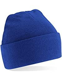 Beechfield Knitted hat with turn up in Royal