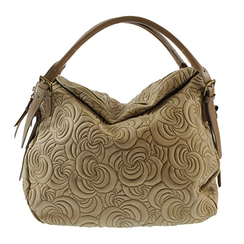 CTM Élégant sac à main de la femme, sac fourre-tout en cuir véritable en daim italien fabriqué en Italie avec des motifs géométriques 40x30x15 Cm