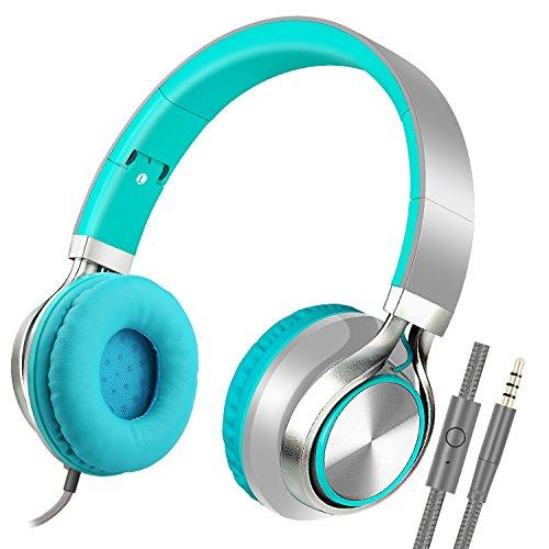 Stereo-Kopfhörer zusammenklappbar mit Mikrofon für iPhone, iPod, iPad, Android Smartphones, PC, Notebook, MP3/MP4-Player, Tablet, Macbook grün Mp3 Mp4 Stereo Kopfhörer