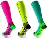 Sport Kompressionsstrumpf Under Pressure RUNATTACK (Kompression: 18-21mmHg) (neon gelb, Gr. 35-38 (Wadenumfang: 28-38cm))