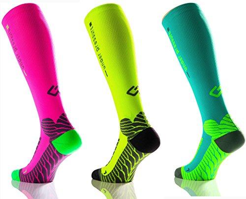 Sport Kompressionsstrumpf under pressure RUNATTACK (Kompression: 18-21mmHg) (neon pink, Gr. 35-38 (Wadenumfang: 28-38cm))