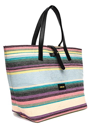 Replay Women's Women's Striped Shoulder Bag 100% Cotton Multicolore (Wht-pink-tur-ylw-blk)