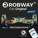 Robway Original Hoverboard W1 - Premium Samsung Akku - UL2272 - CE - Self Balance - Bluetooth - App Steuerung - 2 x 350 Watt Motoren - LED - Elektro Scooter Self Balance Board (Grafit Gelb)