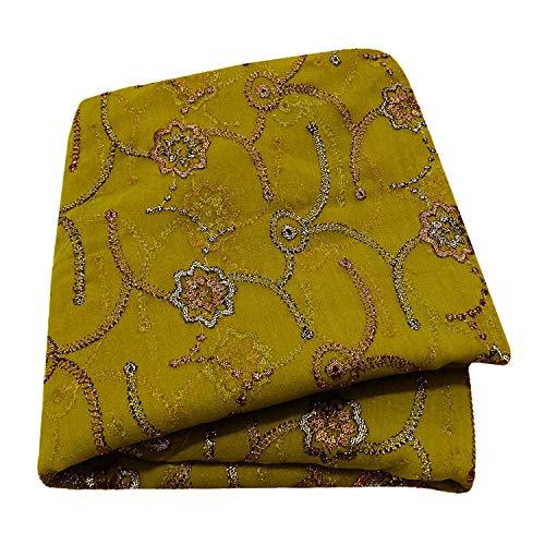 PEEGLI Frau Traditionell Hijab Stickerei Ethnic Vintage Dupatta Grün Designer Chunni Georgette Seide Kunst Material Blumen Hals Wickel Indien Schal -