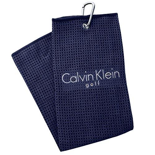 Calvin Klein CK Golf Waffle Mikrofaser gestickte Trifold Handtuch - Marine - Kleine Tri-fold
