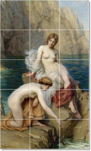 HERBERT JAMES DRAPER NUDES TILE MURAL HOGAR MODERNO ART  18X 30CM CON (15) 6X 6AZULEJOS DE CERAMICA
