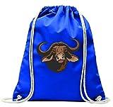 "'Turn Bolsa ""Cabeza de búfalo Búfalo Jinete Wildnis Bosque animales con cordón–100% algodón de bolsa Con Asas De Mochila de bolsa de deporte, azul"