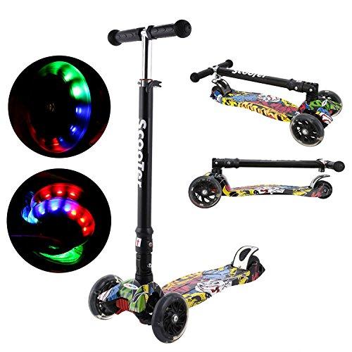 Laiozyen Kinderroller Dreirad Scooter mit LED große Räder 2 Hinterräder-Design Stabil Stoßdämpfung, höheverstellbarem Schwerkraftlenkung ab 3 Jahre, bis 100kg belastbar (Color1)