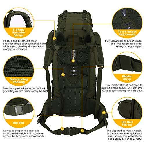 5361c27045 Mountaintop 65L Zaino Militare / Tattico Molle / Campeggio / Zaino di  Assalto / Escursionismo / Sport / Patrol Camping