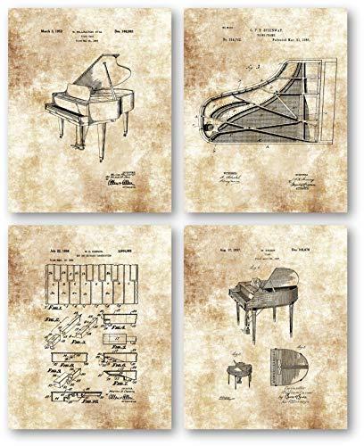 Original Baby Grand Piano Zeichnungen - Musikstudio oder Übungsraum Dekoration - Set von 4 8 x 10 ungerahmten Patentdrucken, tolles Geschenk für klassische Pianisten, Keyboard-Spieler und Musiker