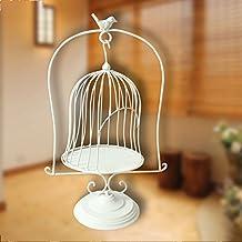 De estilo europeo de estilo de piso de escritorio de la jaula de pájaros marco de la flor ventana de la boda apoyos estante de metal de flores ( Color : Blanco )