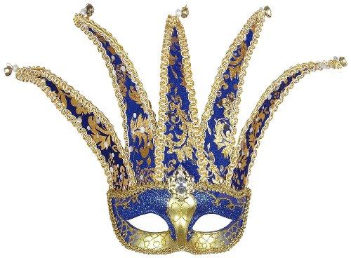 zanische Augenmaske Jester, blau / gold (Jester Halloween-maske)