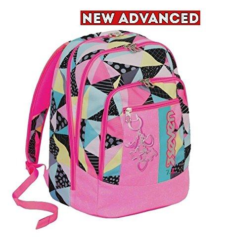 Zaino scuola new advanced seven - fancy - rosa - 30 lt - inserti rifrangenti