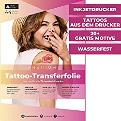 4 Blatt Premium A4 Tattoo-Transferfolie zum Auftragen auf die Haut - inkl. 20+ GRATIS Tattoo-Vorlagen - temporäre Tattoos/Tattoo-Papier geeignet für alle Inkjet Tintenstrahldrucker