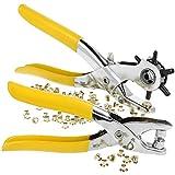 com-four Cinturón y alicates de Cuero con revólver - Alicates para Ojales para perforar Agujeros - con 50 Ojales de Metal