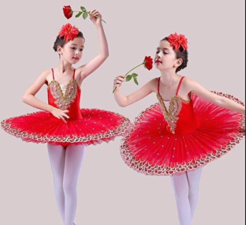 HUOFEINIAO-Tanzkleidung Kinder Ballett Sling Ballett Schwanensee Puff Kinder Pailletten Ballett Tutu Rock, 110cm, red (Tutu Red Kinder)