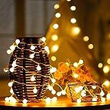 Bombillas Cadena de Luces Navidad,DINOWIN 5 Medidor 50 LED Bola Redonda Solar Guirnalda Luz Decoración de Exterior, Jardín, Patio, Fiesta, Dormitorio, Casa Atmósfera Iluminación (Blanco Cálido)