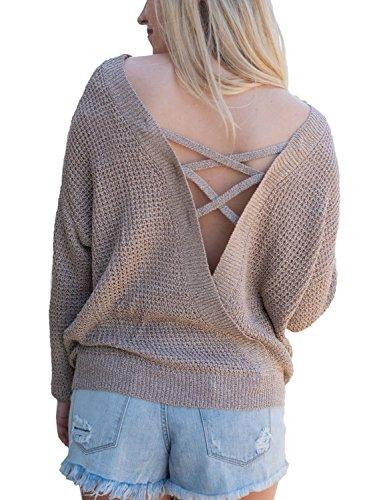 Aleumdr Damen Strickpullover V-Rückenausschnitt Doppelverwendung Knit Pulli mit SchnüRung hinten Sweatshirt Khaki Large -