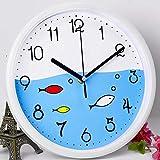 HUNLEE Kinderwanduhr (Ø) 30,5 cm Große Kinder Wanduhr mit lautlosem Uhrwerk, Kinder Stil Gut für Kinderzimmer Spielzimmer Schlafzimmer - Ablesen der Uhrzeit einfach Lernen
