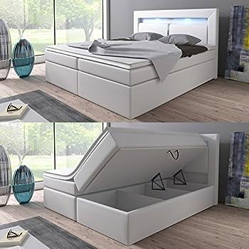 Boxspringbett 160x200 Weiß mit Bettkasten LED Kopflicht