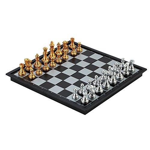 Preisvergleich Produktbild Reise - Schachspiel LOMATEE magnetisch Schachspiel Chess aus Kunststoff für Kinder 25x25cm mit faltbarem Schachbrett & Schachfiguren für unterwegs Reise Camping