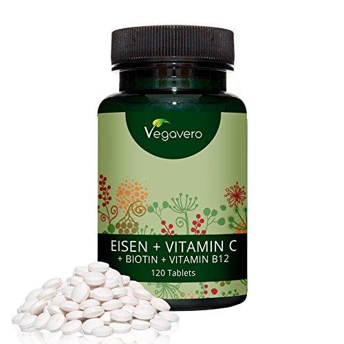 Fer + Vitamine C + Biotine + Vitamine B12 | 65 mg | 120 comprimés | Anti Fatigue - Energisant - Antioxydant - Système immunitaire | Iron | Idéalement Dosés Cure de 4 mois | Qualité Vegavero- 100% naturel | Végan | Made in Germany